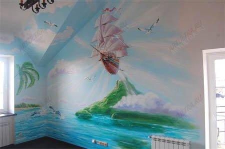 фото роспись стены маслом