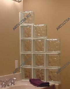 Варианты расположения прямых перегородок из стеклоблоков
