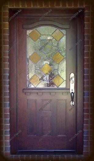металлические порошковые двери витраж
