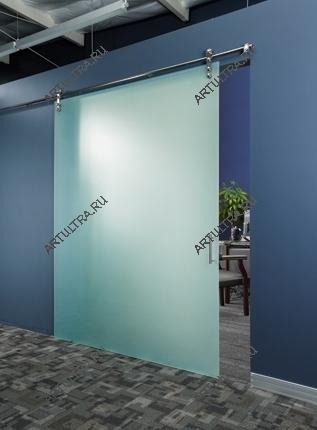 Рис. 6. Схема цельностеклянной комнатной перегородки с раздвижным механизмом открытого типа.  Вывод.