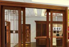 фото раздвижные автоматические межкомнатные двери с гравировкой под дерево