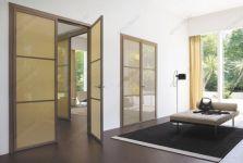 фото 3-х элементные тонированные распашные алюминевые стеклянные двери