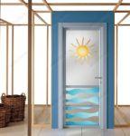 фото матовые распашные алюминевые стеклянные двери с цветным изображением