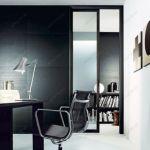 фото прозрачные алюминевые стеклянные двери с черным обрамлением