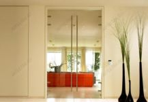 фото высокие прозрачные двустворчатые стеклянные двери с протяжными ручками