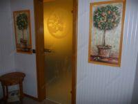фото матовые распашные остекленные двери с гравировкой