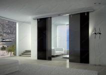фото двойные подвесные тонированные межкомнатные стеклянные двери