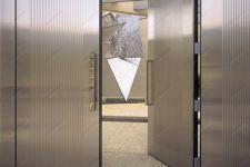 фото двойные алюминевые межкомнатные маятниковые двери с рефлёным стеклом