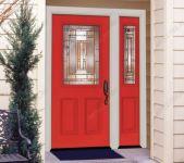 фото деревянные одностворчатые двери со стеклом в пентхаусе