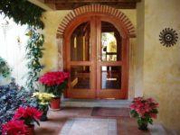 фото деревянные с арочным сводом входные двери со стеклом