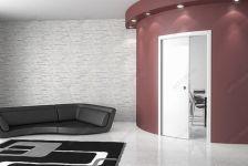 фото белые раздвижные радиусные двери