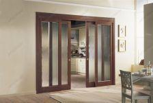 фото раздвижные двойные межкомнатные стеклянные двери с матовые стеклом