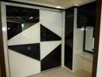 фото двойные зеркальные двери для шкафа-купе с черными и белыми элементами