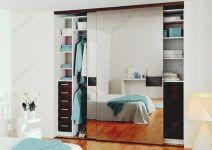 фото двойные зеркальные двери для шкафа-купе с вставками