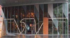 фото маятниковые двустворчатые двери в торговый дом