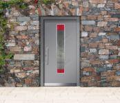 фото металлические двери элитные со стеклянной вставкой