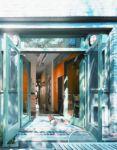 фото распашные пластиковые уличные двери в салон мебели