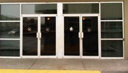 фото распашные двери входные из алюминия