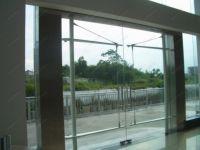 фото стеклянные маятниковые входные двери