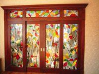фото дверь раздвижная с витражами