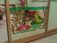 фото шкаф купе роспись по стеклу
