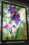 фото стеклянная картина расписные ирисы