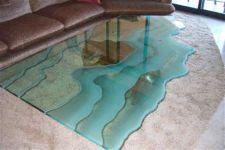 фото стеклянный стол с узором
