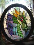 фото витраж на стекле дракон