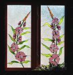 фото витраж розовые цветы
