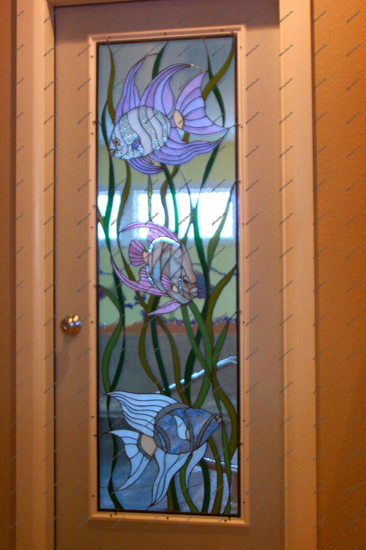 Декорирование дверей со стеклом своими руками фото