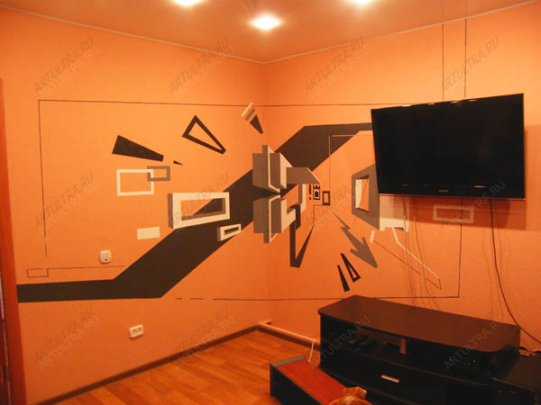 Как сделать объемный рисунок на стен