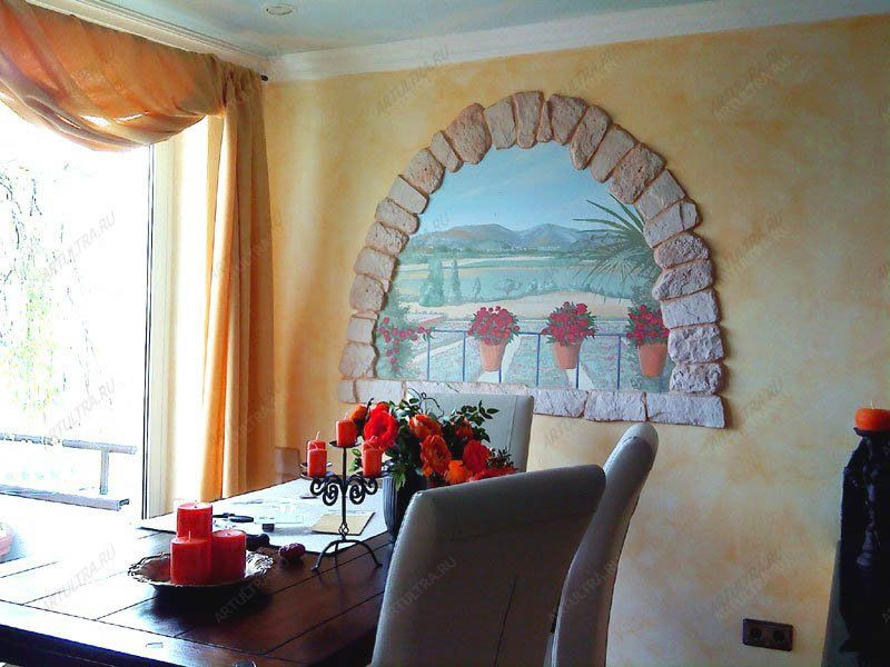 Роспись стен в кухне своими руками 75