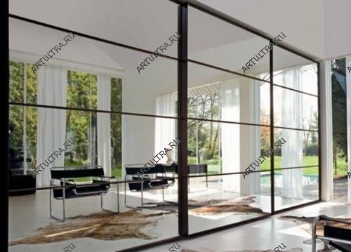 Межкомнатные перегородки с матовым стеклом, зеркалом, стеклопакетом2