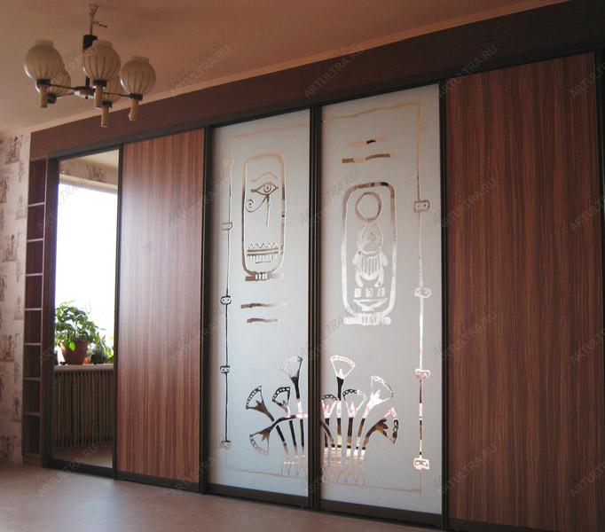пескоструйные рисунки на шкафах купе фото 2 двери