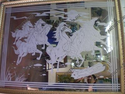 Пескоструйных узоров зеркала на кухне