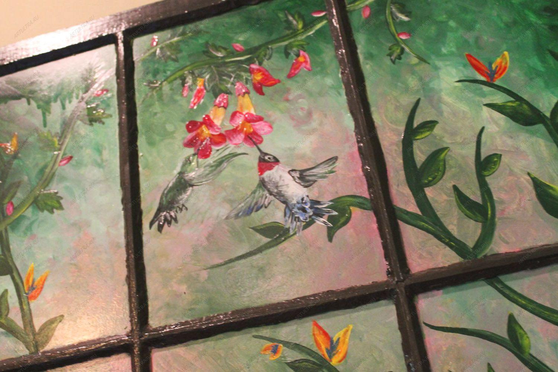 Роспись витражными красками окна