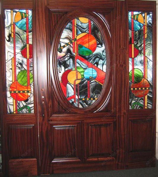 двухстворчатые металлические двери витражи